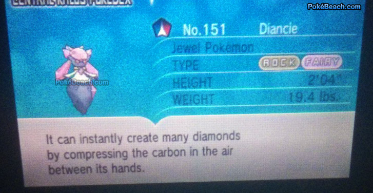 Diancie Pokedex Entry