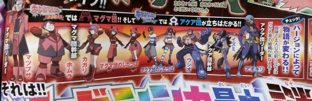 Omega Ruby and Alpha Sapphire in CoroCoro - Team Aqua and Team Magma